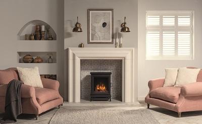 Gazco Sheraton 5 electric freestanding fire with Grafton Limestone mantel